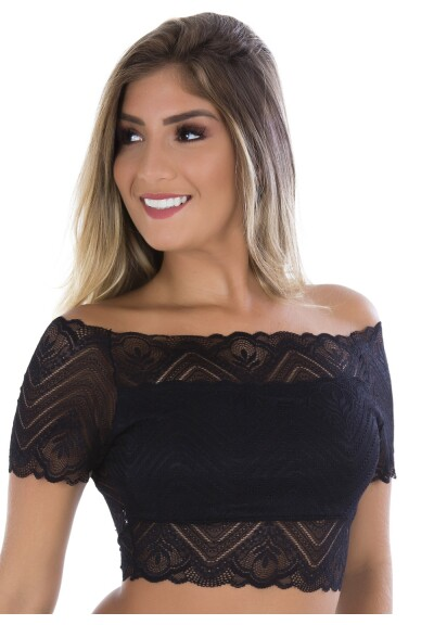 Top Cropped Glenda de Renda Luxo