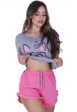 Pijama Manga Curta Meow de Malha PV (ADULTO)